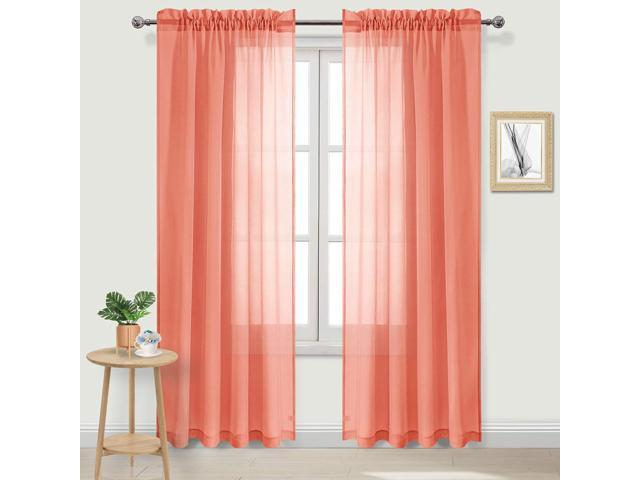 DWCN Sheer Curtains Coral Rod Pocket Bedroom Curtains Faux Linen 52 x 84  inches Long Drapes, Set of 2 Window Curtain Panels - Newegg.com