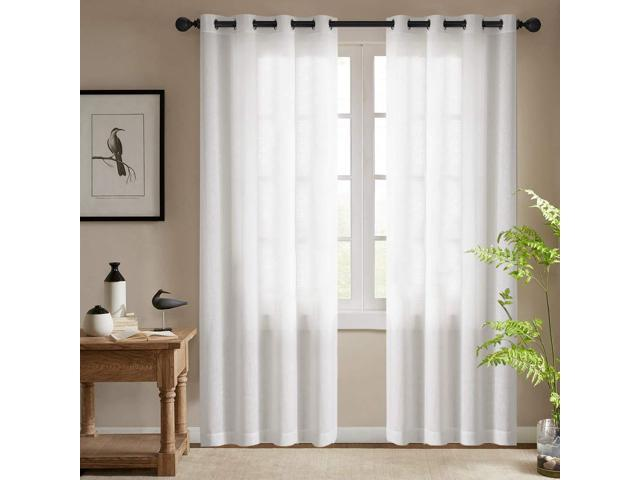 Semi Sheer White Curtains for Bedroom Window Curtains 84 Inches Long  Grommet Top Casual Weave Textured Living Room Window Treatments (2 Panels,  White) ...