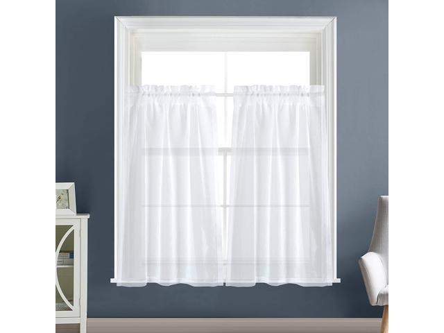 Dreaming Casa Solid Sheer Kitchen Curtains Valance Tier Curtains Draperies  White Rod Pocket, 2 Panels 2 30\