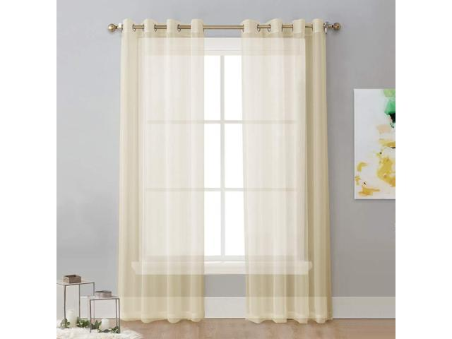 Nicetown Sheer Curtain Panels 96 Window Treatments Voile With Eyelet Top For Living Room One Pair W54 X L96 Yellow Beige Newegg
