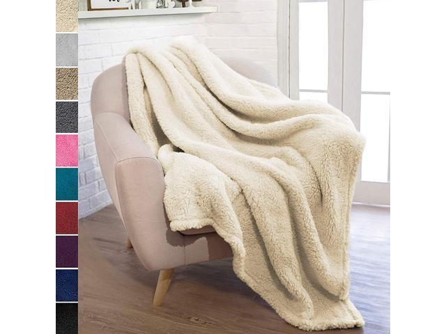 Amazing Pavilia Plush Sherpa Throw Blanket For Couch Sofa Fluffy Microfiber Fleece Throw Soft Fuzzy Cozy Lightweight Solid Latte Cream Blanket 50 X Bralicious Painted Fabric Chair Ideas Braliciousco
