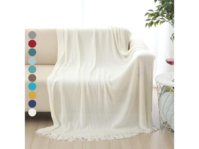 Peachy Alpha Home Soft Throw Blanket Warm Cozy For Couch Sofa Bed Beach Travel 50 X 60 Ivory Newegg Com Bralicious Painted Fabric Chair Ideas Braliciousco