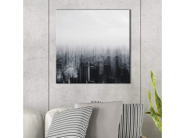 wall26 - Square Canvas Wall Art - Buildings in Black and White with Blurry  Effect - Giclee Print Gallery Wrap Modern Home Decor Ready to Hang - 16x16