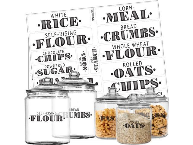 Pantry Labels - 36 Preprinted Kitchen Labels by Talented Kitchen  Black  Words on Clear Sticker, Water Resistant, Farmhouse Food & Spice Jar Labels  for