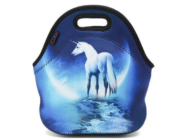 87f155bfa65c ICOLOR White Unicorn Insulated Neoprene Lunch Bag Tote Handbag lunchbox  Food Container Gourmet Tote Cooler warm Pouch For School work Office - ...