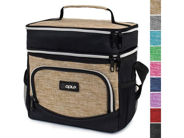 7fec19059553 OPUX Insulated Dual Compartment Lunch Bag for Men, Women | Double Deck  Reusable Lunch Tote Cooler Bag with Shoulder Strap, Soft Leakproof Liner |  ...