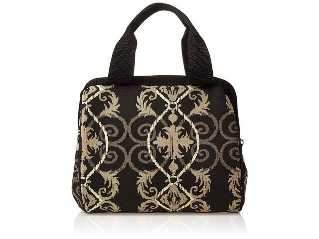 4bd3053b9491 Fit & Fresh Women's Downtown Insulated Lunch Bag with Zipper Closure and  Exterior Pocket, Stylish Adult Lunch Box for Work, Black Helix Damask - ...