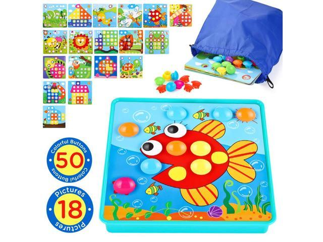 INSOON Button Art Toddlers Toys Preschool Learning Color Matching Puzzle  Games for 3 4 5 Years Old Boys and Girls with A Storage Bag 50 Pegs and 18  ...