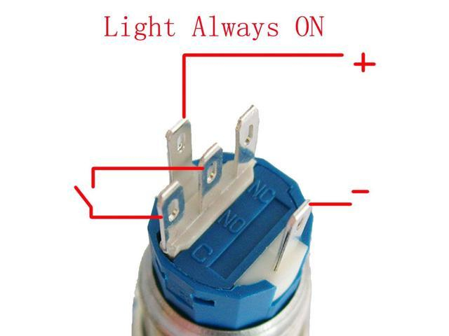 ESUPPORT 12V Car Red LED Momentary Speaker Push Button Metal Switch