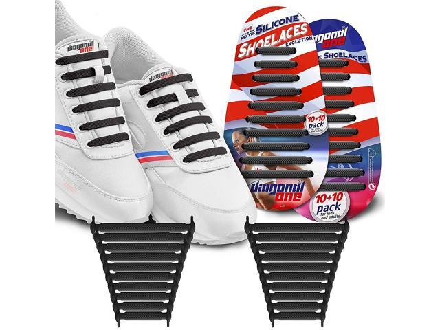 676d9aa9b17ad DIAGONAL ONE No Tie Shoelaces for Kids & Adults. The Elastic Silicone Shoe  Laces to Replace Your Shoe Strings. 20 Slip On Tieless Flat Silicon ...