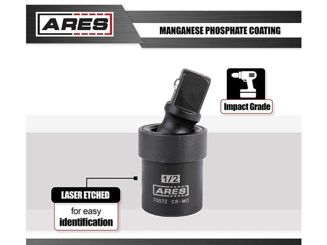 ARES 70072-1//2-inch Drive Impact Universal Joint Chrome Moly U-Joint Socket Accesses Hard to Reach Fasteners