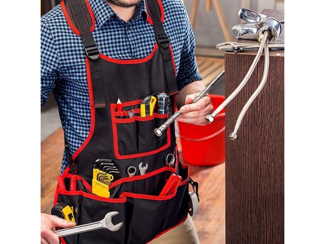 NoCry Heavy Duty Work Apron - 26 Tool Pockets, Tape Measure Holder, D Ring  Loop, Black Waterproof Canvas, Adjustable for Men and Women XXS to 4XL -