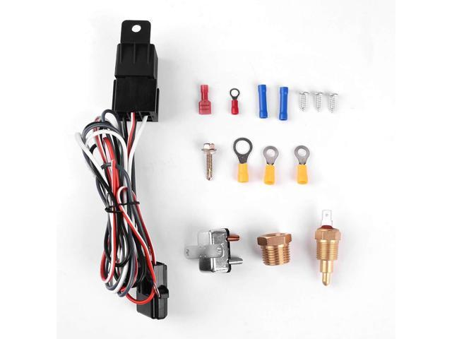 Universal 175-185 Degree Radiator Cooling Fan Thermostat Temperature Switch  40A Relay Kit - Newegg com