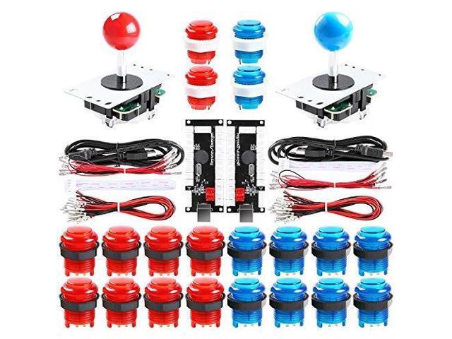 Qenker 2-Player LED Arcade DIY Kit for USB MAME PC Game DIY & Raspberry Pi  Retro Controller DIY Including 2X Arcade Joystick, 20x LED Arcade Buttons,