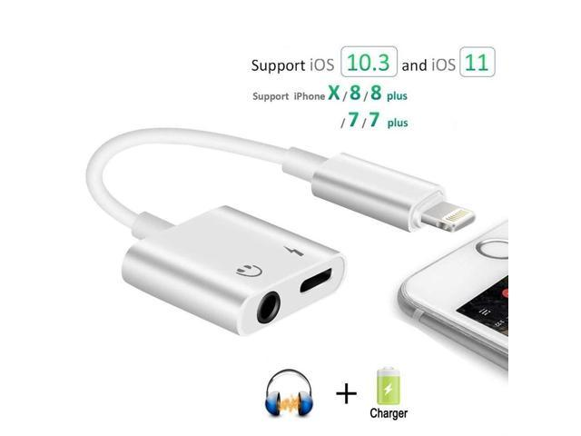 pretty nice 52608 4d939 Lightning to 3.5mm Headphone Audio Adapter for iPhone X/8/7 Plus, 2 in 1  Lightning Adapter and Charger Support 10.3 or Latest iOS 11 - Newegg.com