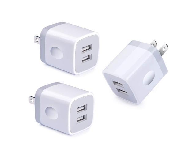 Dual Port USB Wall Charger, NINIBER 3-Pack Charging Block Cube Box Brick  Plug Compatible iPhone Xs Max XR 8 X 7 6 4 6S Plus 5 SE 5C iPad iPod  Samsung