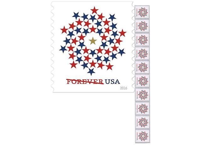 Patriotic Spiral Strip of 10 Forever First Class USPS Stamps USA Stars Red  & Blue (Strip of 10) - Newegg com