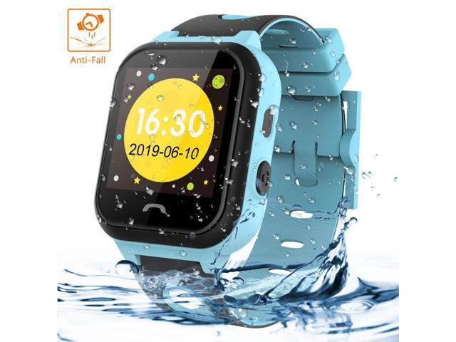 Themoemoe Kids Smartwatch Phone, Kids Smartwatch Waterproof Anti-Fall 2G  GPS/LBS Tracker SOS Camera Games Compatible with Android iOS(Blue) -