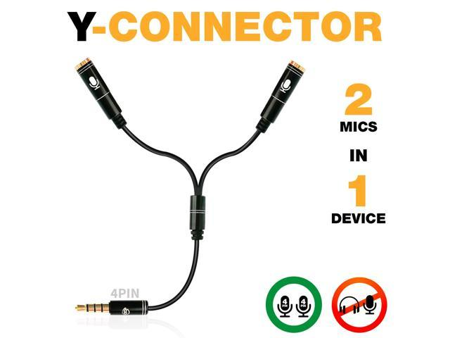 Y Splitter Mic and Mic - Microphone TRRS Splitter - 2 Microphone Splitter -  Y-Splitter - Y-connector Audio Signal Splitter Cable for Lavalier