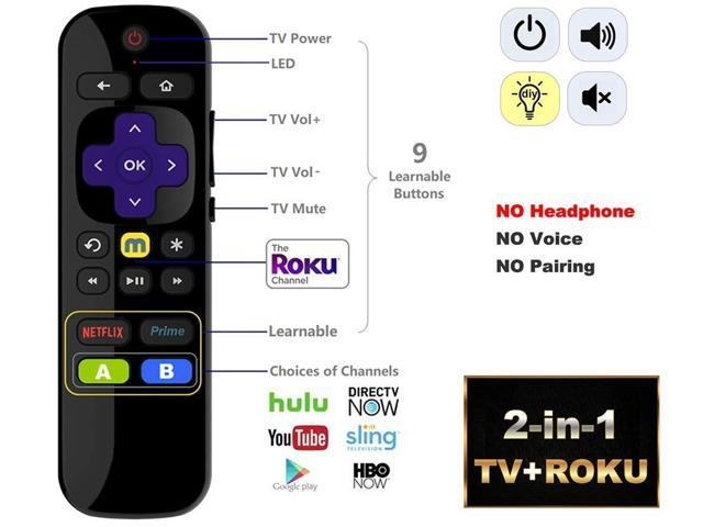 IKU-CJVP81 Universal IR Remote Compatible with ROKU Express w/TV Power +  Volume/Mute Buttons + Learning Function ?NOT for ROKU Stick & Built-in ROKU