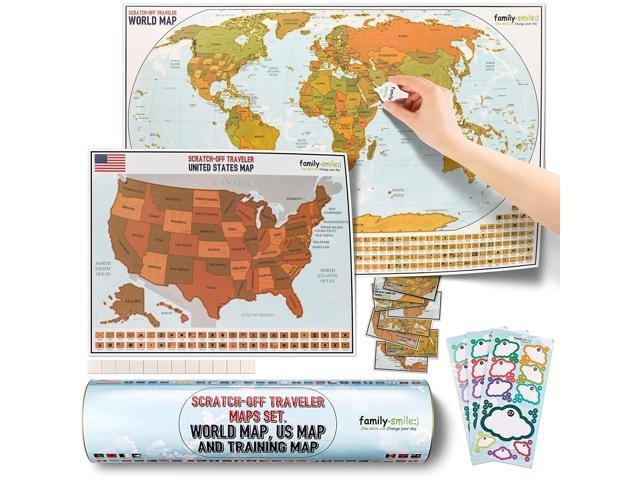 family-smile, Scratch-off Educational & Travel Log Map Set. Two in one:  scratch off world map & scratch off map USA (SUMMER BONUS: four tools are  ...