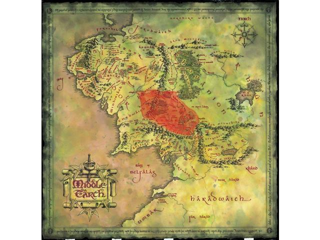 Map Of Middle Earth The Lord Of The Rings Nice Silk Fabric Cloth Wall  Poster Print (32x32inch) - Newegg.com