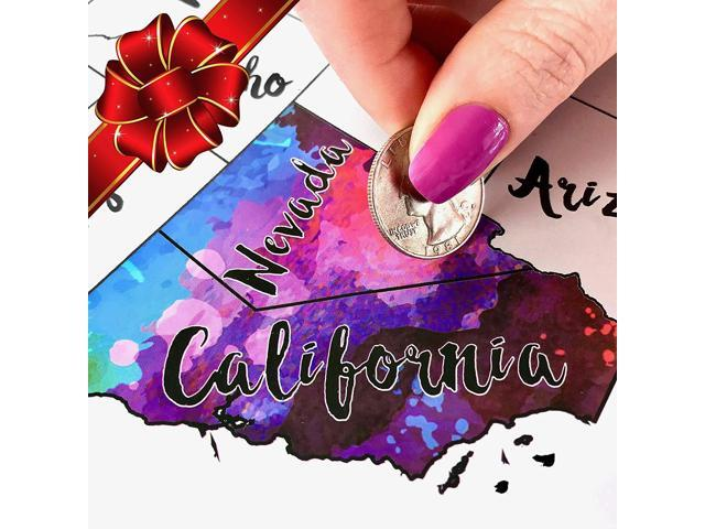 Scratch Off Map USA - Scratch The Silver Foil Of The United States & Reveal  Beautiful Watercolor - By Inevitable Imports - Newegg.com