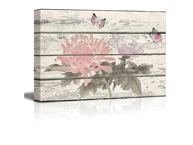 Rustic Canvas Wall Art.Wall26 Butterflies And Flowers Pink And Blue Artwork Rustic Canvas Wall Art Home Decor 12x18 Inches Newegg Com