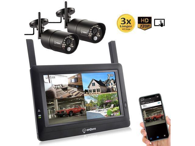 Sequro Guardpro Diy Long Range Wireless Video Surveillance System 7 Touchscreen Monitor 2 Outdoor Indoor Night Vision Ip66 Weatherproof Hd Network