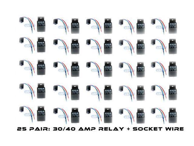 25 PAIR BOSCH STYLE 30/40 AMP 12V RELAY+ HARNESS SPDT - FREE SAME DAY  SHIPPING - Newegg com