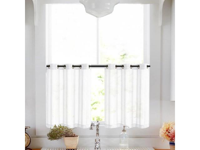 Kitchen Tier Curtains 24 inch White Tier Curtains for Bathroom Striped Cafe  Curtains Sheer Small Curtains Grommet Top, 2 Panels - Newegg.com