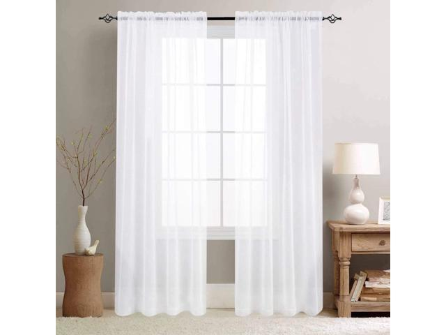 Sheer Curtains White 84 Inch Long for Living Room Bedroom Curtain Set of 2  Panels Voile Window Curtain Panels 55-by-84 Inch Sheers Rod Pocket - ...