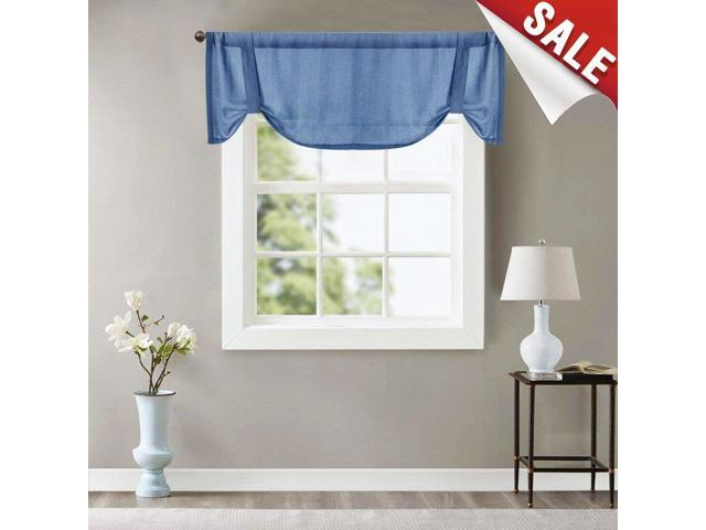 Valance Semi Sheer Short Curtains Kitchen Casual Weave Cafe Curtains Half  Window Treatments 1 Panel 18\