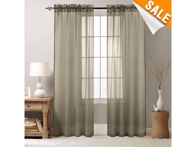 Bedroom Curtains Brown Sheer Curtain inchg Long Drapes for Living Room  Voile 95 inch Length 2 Panels Rod Pocket - Newegg.com