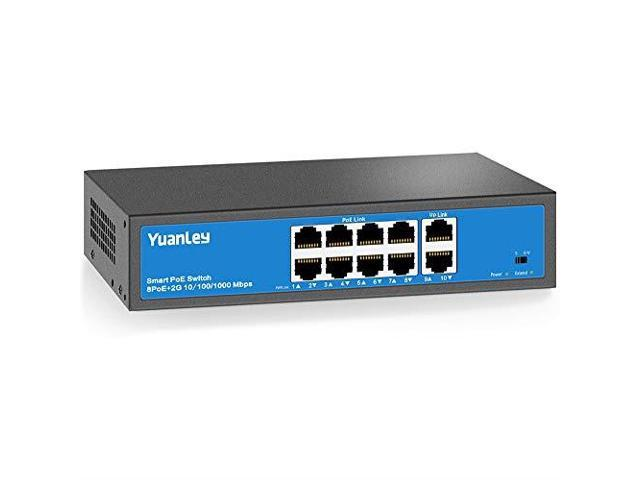 YuanLey 8 Port PoE Switch 2 UpLink Gigabit PoE Plus 8023afat 120W Builtin  Power Vlan Up to 250m Metal Plug amp Play Network Switch - Newegg com