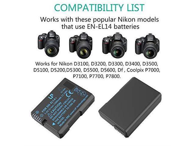 LP ENEL14 EN EL14a Battery Charger Set 2Pack Battery amp Charger Compatible  with Nikon D3100 D3200 D3300 D3400 D3500 D5100 D5200 DF amp More -