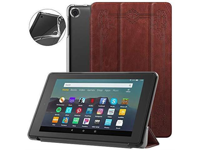 Dadanism AllNew Amazon Kindle Fire 7 Tablet Case 9th Generation 2019  Release Flexible TPU Translucent Back Shell Ultra Slim Lightweight Trifold  Stand