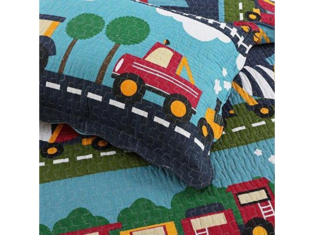 Cartoon Pattern Blue Quilt Sets HNNSI 3PCS Cotton Kids Quilt Bedspread Set Queen Size for Boys Cute Pattern Train Comforter Toddler Teens Bedding sets