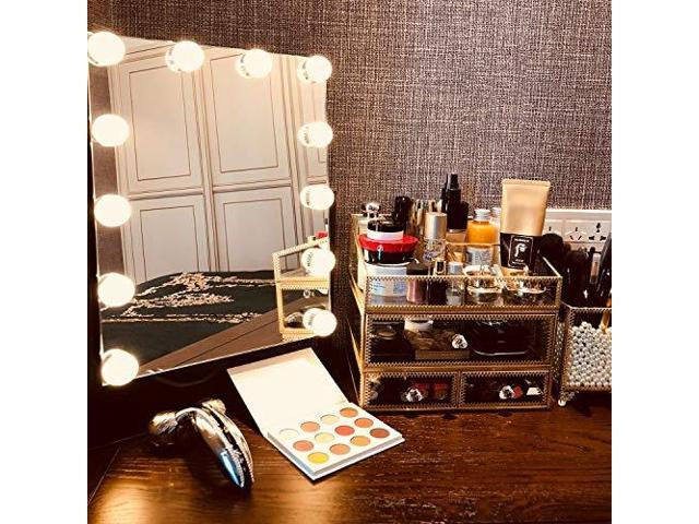 COMMODA Hollywood Style Lighted Vanity Makeup Mirror Dimmable LED Bulbs  Smart Touch Dimming Adjustable Design Whole Metal Frame and Backing Makeup