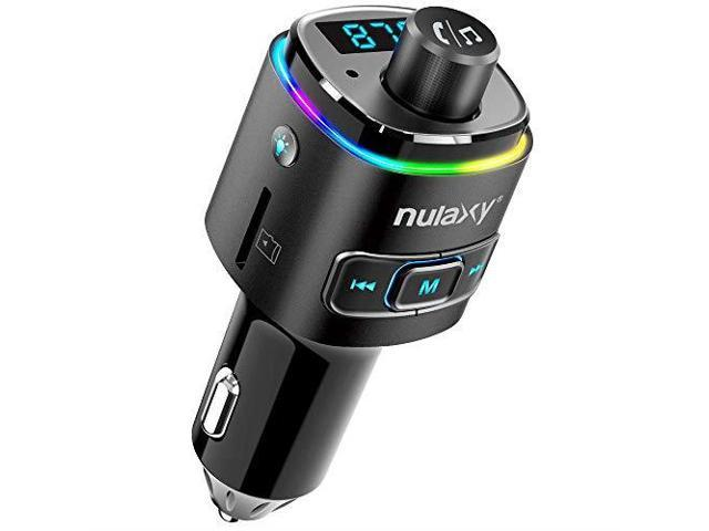 Nulaxy Bluetooth FM Transmitter for Car 7 Color LED Backlit Bluetooth Car  Adapter with QC30 Charging Support Siri Google Assistant USB Flash Drive