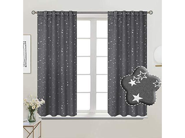 Kids Bedroom Curtains | Bgment Rod Pocket And Back Tab Blackout Curtains For Kids Bedroom Sparkly Star Printed Thermal Insulated Room Darkening Curtain For Nursery 38 X 45