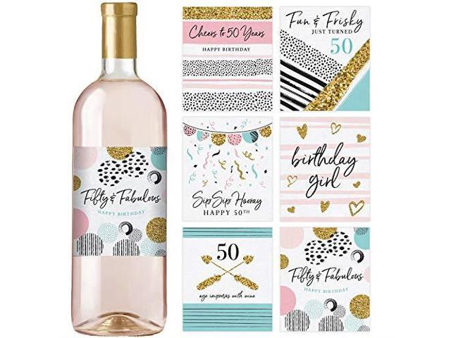 50th Birthday Wine Bottle Labels Set of 6 Waterproof Labels Birthday Gifts  For Her 50th Birthday Party Decorations Ideas and Supplies - Newegg com