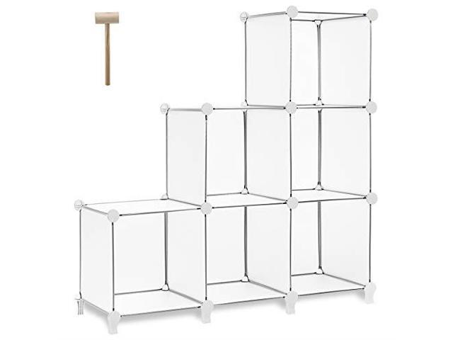 TomCare Cube Storage 6Cube Bookshelf Closet Organizer Storage Shelves Shelf  Cubes Organizer Plastic Square Book Shelf Bookcase DIY Closet Cabinet