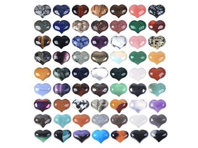 JUST IN STONES Assorted Gemstone Mini 20mm Puffy Heart Healing Crystal  Pocket Stone Rock Collection Box Pack of 24 - Newegg com