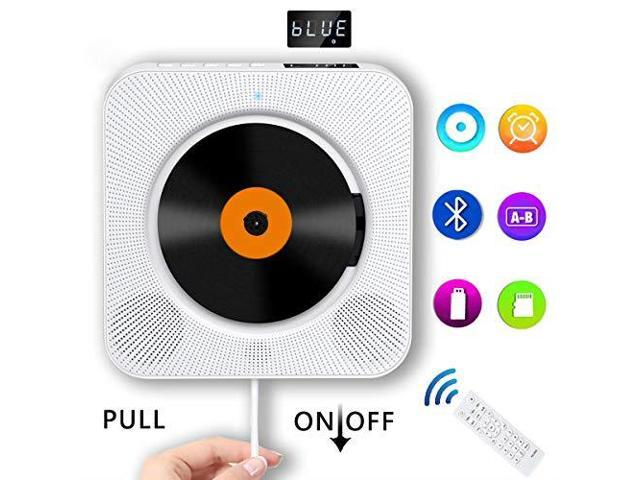 Portable CD Player with Bluetooth Wall Mountable Compact Disc Player Home  Audio Boombox with Builtin HiFi SpeakersLED DisplayFM RadioRemote  ControlAUX