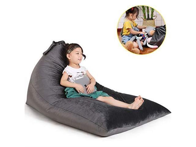 Astonishing Stuffed Animal Storage Bean Bag Chair For Kids And Adults Premium Canvas Stuffie Seat Cover Only Grey With White Arrows 100L26 Gal Newegg Com Spiritservingveterans Wood Chair Design Ideas Spiritservingveteransorg