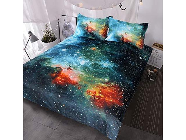 BlessLiving Galaxy Bedding Kids Boys Girls Outer Space Bedding Sets 3 Piece Red Blue Green Nebula Duvet Cover Universe Bed Set Twin