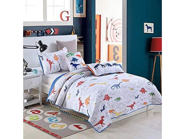 Jax Amp Olivia Cozy Bedspread White Quilt And Colorful Dinosaurs Blue White Red Green Twin Bedding Quilt Set Reversible Blue Amp White Dino Twin