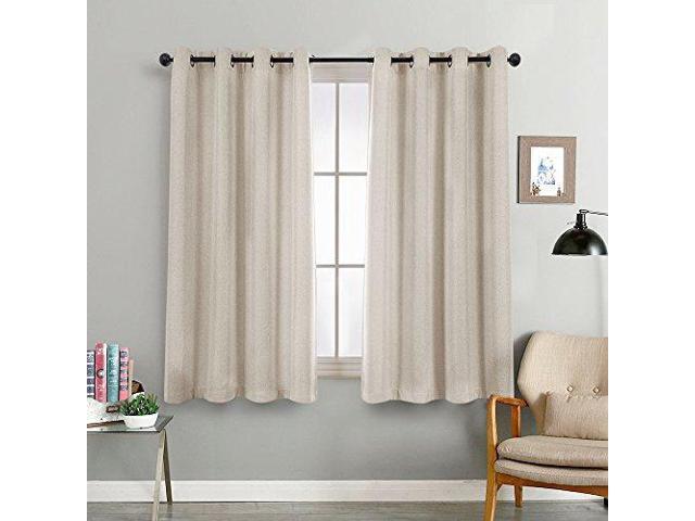 Beige Tier Curtains Bedroom Room Darkening Linen Textured Window Curtain Panels Living 45 Inches Long Treatment Set Grommet Top 2
