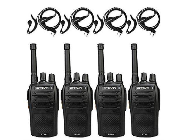 Retevis RT46 Two Way Radios Long Range FRS Rechargeable and Regular AA  Battery Power SOS Emergency Alarm Hands Free Walkie Talkie with Earpiece 4  Pack